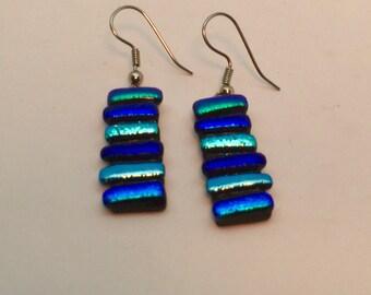 Blue Fused Glass Earrings