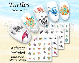 Turtle Nail Decals, Turtles Water Nail Decals, Tortoise Nail Stickers, Tortoises Nail Art Water Decals, Summer Manicure, Beach Nails J2313