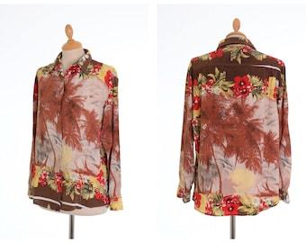Vintage 1980s oversize hawaiian print rayon shirt  - size M