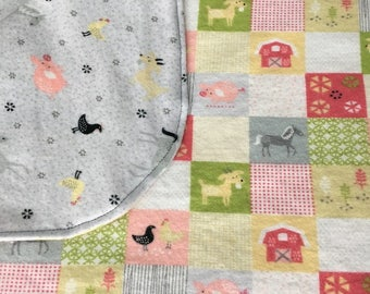 Barn yard animal baby blanket, Farm animal double layerflannel receiving blanket, Toddler security blanket, Baby swaddle blanket, Crib size.