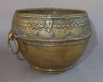 Antique Brass Rice Bowl from Nepal, Nepali Asian Folk Tribal Art, FREE SHIPPING