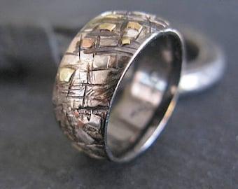 Silver Gold Ring Random Mosaic Domed 10mm Grafitti Ring Mens Ring Mens Wedding Band Viking Wedding Ring Man Ring Mens Wedding Bands 14k 18k