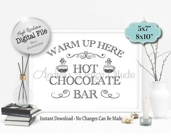 Hot Chocolate Bar Sign, Warm Up Here Sign, Party Decor, Wedding Decor, Party/Wedding Signs, Instant Download, Digital Files