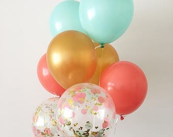 Coral Mint Gold Latex Balloons Coral Mint Gold Confetti Balloons Coral Bridal Shower Gender Reveal Coral Gold Mint Party Coral Mint Baby Sho
