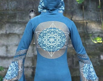 SALE 40% OFF Galactic Bell Arm Hoodie - Blue Star Metrahedron - Women - Fourth Dimension Designs