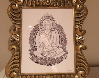 Gold framed buddha illustration - one off product