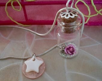 Vial necklace shabby chic Pearl Pink Silver White Star