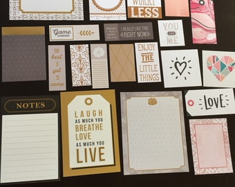 Gold foil and neutral Planner, Journal Cards. 21 pieces. Assorted sizes