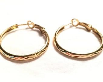 Gold over 925 sterling silver th hoop earrings
