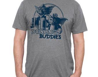 Mens Gremlins T-shirt- Gremlins Drinking Beer Shirt