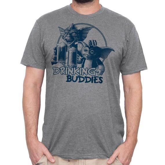 Mens Gremlins T-shirt-  80's Gremlins Shirt- Gremlins Drinking Beer Hand Screen Printed on a Mens Shirt -Mens Craft Beer Shirt