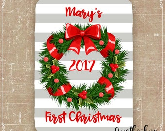 First Christmas Baby Blanket - Personalized Baby Blanket - Christmas Baby Blanket - Fleece Blanket - Minky Blanket - Personalized Blanket