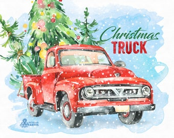 Christmas Truck. Watercolor holiday clipart, car, dog, gifts, boxes, pickup, Christmas tree, cute, snow overlay, xmas, merry, holly, vintage