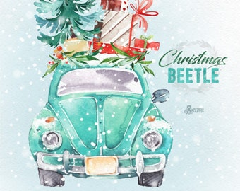 Christmas Beetle Mint. Watercolor holiday clipart, vintage, retro car, winter, Christmas tree, floral wreaths, xmas, merry, holly, cards