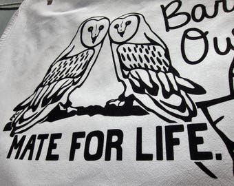 Barn Owls Mate for Life - Tea Towel, Engagement or Wedding Gift