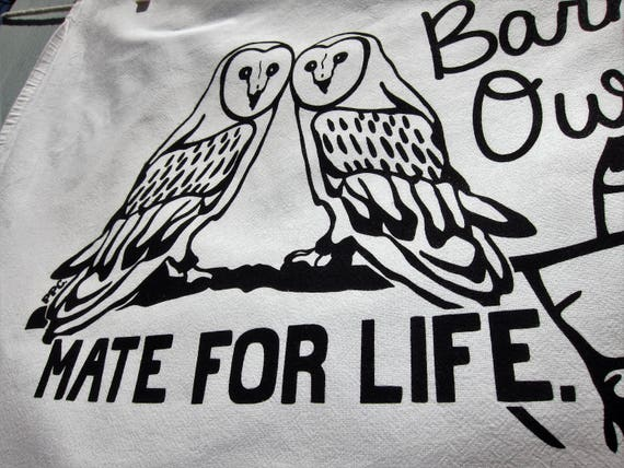 Barn Owls Mate for Life - Tea Towel, Engagement or Wedding Gift