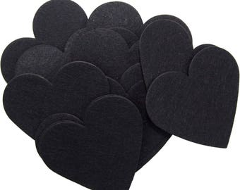 Black Stiff Felt 3 Inch Hearts (22pc)
