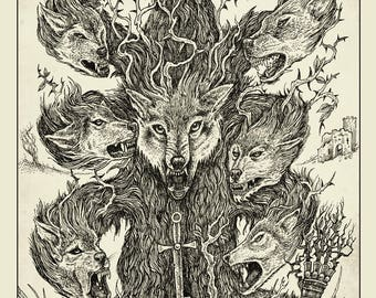 Tree of Wolves A3 Print