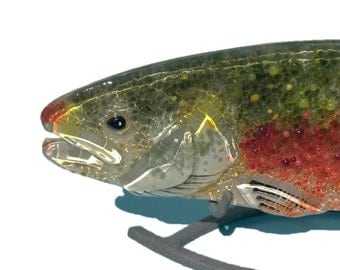 FUSED GLASS FISH. Rainbow Trout, Glass Fish, Fused Glass Art, Hanging Glass Fish, Glass Trout, Freshwater Fish