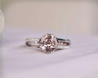 Flower Pink Morganite Ring Morganite Engagement Ring Wedding Ring Anniversary Ring Promise Ring