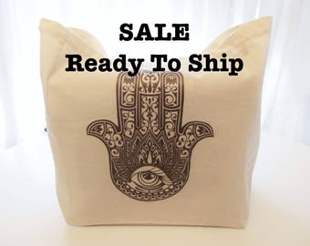 Sale Ready To Ship Cotton Tote Bag with Hand of Fatima, Hamsa Cotton Tote Bag, Evil Eye Protector Tote, Spiritual Tote, Hand of Mary Tote
