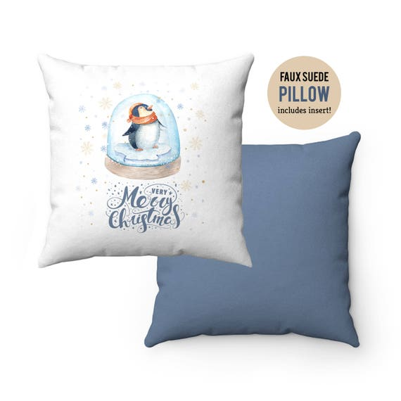 Pillow WITH INSERT - Christmas Penguin Merry Christmas Pillow with Filling - Faux Suede 14x14 Pillow 16x16 Pillow 18x18 Pillow, 20x20 Pillow