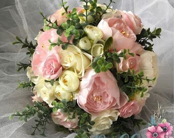 "Beautiful Brides ""Maisy""  Pink and Ivory Cream Peony and Rose artificial silk wedding Bouquet"