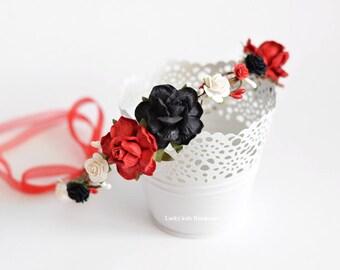 Red and Black Flower Crown - Red Rose Crown - Black Red wedding crown - Adult Flower Crown - Red floral crown - Black Red Boho Hair Wreath