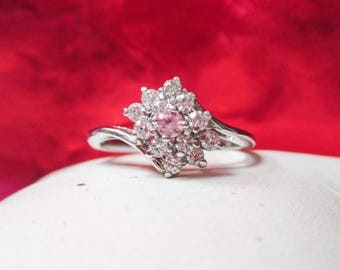Sterling Silver Cubic Zirconia and Pink Stone Ring
