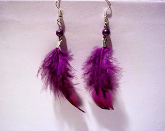 Purple feather earrings purple pearl beads