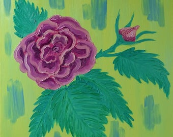 "Rose on a Yellow Background by Mary Bottom | Original Oil Painting on Canvas | 24""x24"""