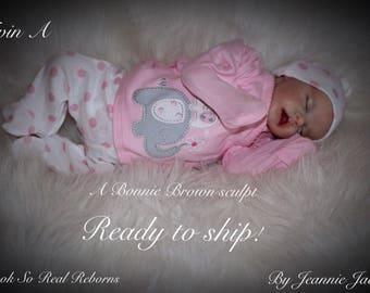 Reborn baby, Twin A , Bonnie Brown sculpt, COA , extras, ready to ship