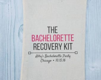 10 Bachelorette Party Favor, Hangover Kit, Survival Kit, Recovery Kit, Emergency Kit , Custom Bachelorette Party Bags - Bach Recovery Kit