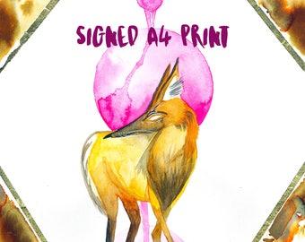 A4 Signed Manedgenta Wolf *PRINT*