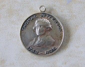 Thomas Jefferson Monticello Virginia Sterling Silver Bracelet Charm President