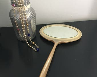 Vintage Celluloid Mirror -  Hand Mirror - Vanity Mirror - Retro Decor - Vanity Decor - Bedroom Decor - Bathroom Decor - Beveled Mirror
