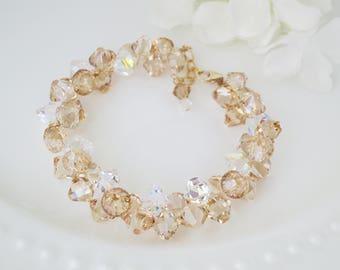 Champagne wedding bracelet, Swarovski faceted crystal bracelet, Gold crystal bridal bracelet, Unique cluster bracelet
