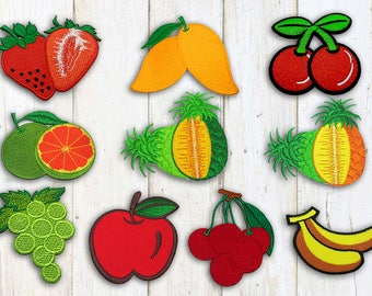Fruit Iron on Patch(L1) - Strawberry,Mango,Cherry,Grape, Pineapple, Banana,Orange  Applique Embroidered Iron on Patch-Size7.1-8.8x6.0-9.0cm