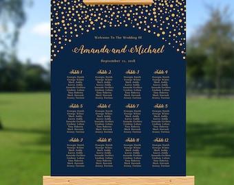 Elegant Wedding Seating Chart, Gold Confetti, Navy Blue, Personalize Wedding Seating Plan, Rustic Wedding, Gold Glitter Confetti