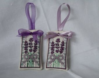 2 Hand embroidered Lavender Bags