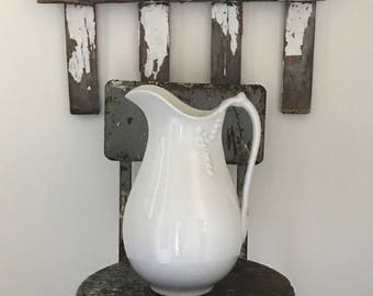 "Antique WHITE IRONSTONE PITCHER~English Ironstone, 19th Century • Very Large/Tall & Slim 14"" • Lovely Vintage Ironstone !"