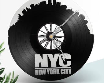Vinyl CLOck art NEW YORK CITY  // Broadway // Jazz // Rap // Music