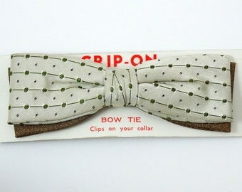 Green Polka Dot Vintage Clip On Bow Tie 1950s Bowtie