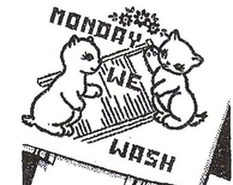 Transfer Pattern PDF Embroidery Alice Brooks Kittens Cats DOW Day of Week Cross Stitch