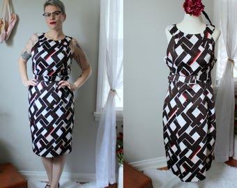 Vintage Geometric White, Black, and Red Wiggle Dress // 1990's David Meister Sleeveless Cotton Sheath Dress with Matching Belt Size 10