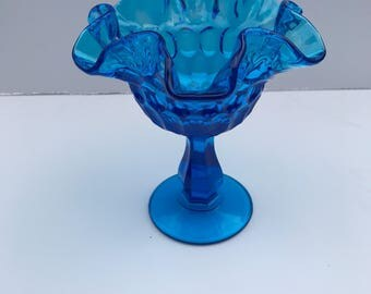 Fenton glass blue compote candy dish