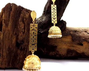 Long earring,jhumka earring,pearl beaded earring,designer earring,geometric design earring,drop & dangle earring
