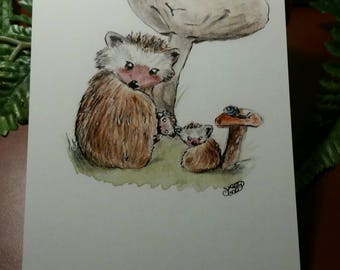 Hedgehog family postcard