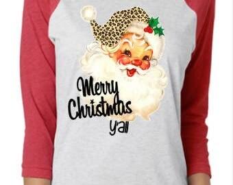 Vintage Look Santa Raglan-Christmas Raglan-Merry Christmas Y'all Raglan - Leopard Santa Shirt-Christmas Shirt - Santa Raglan - Holiday Shirt