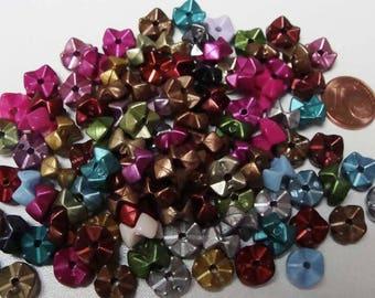 100 perles RONDELLES M 9X6mm multicolores acrylique RES-69 DIY création bijoux